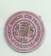 ESPAGNE - 1937 - République Espagnole CATALOGNE - TERRASSA-  Carto Monéda D'Os Provisionnas Monnaie Carton Timbre - Espagne