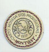ESPAGNE - 1937 - République Espagnole  BARCELONE-MONTGAT Carto Monéda D'Uso Provisional - Monnaie Carton Timbre - Espagne