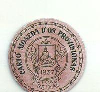 ESPAGNE - 1937 - République Espagnole  CATALOGNE - MOTCADA I REIXAC-  Monéda D'Os Provisionas - Monnaie Carton Timbre - Espagne