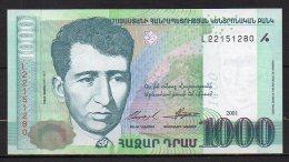 518-Arménie Billet De 1000 Dram 2001 L221 Neuf - Arménie