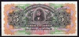 529-Costa Rica Banco Anglo-Costarricense Billet De 5 Colones 19__ Série A Neuf - Costa Rica