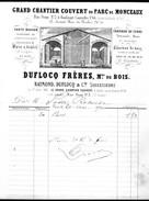 Facture Ancienne Illustrée. Duflocq, Chantier De Bois Et Charbon, Paris (17e ) 1870 - France