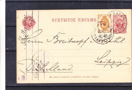 Russie - Carte Postale De 1899 - Entier Postal - Oblit Riga - Exp Vers Leipzig En Allemagne - Briefe U. Dokumente