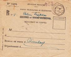 """Env De Service """"Valeurs Reexpédiées"""" Avec TàD OBERHAUSBERGEN Du 3.7.39 Adressée à Wissembourg - Marcophilie (Lettres)"""