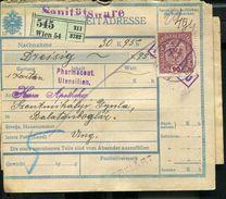AUSTRIA 1917 PARCEL CARD Sänitats INHALT:PHARMACOUT. - Cartas