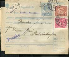 AUSTRIA 1916 MIXED FRANKING PARCEL CARD ..PACKET BONBONS.... - Cartas