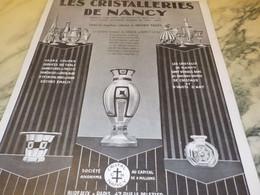 ANCIENNE PUBLICITE LES CRISTALLERIES DE NANCY  1928 - Publicité