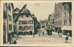 AK Basel, Falknerstraße U. Hauptpostgebäude, Straßenbahn, Um 1900 (S1-334) - BS Bâle-Ville
