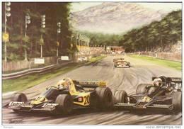 Italian GP - 1976  -  Mario Andretti - Lotus - Jody Scheckter - Wolf   -  Art Card By Alan Preece - Grand Prix / F1