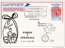 CP Repiquée : Cyclotourisme, Pâques à Périgueux, Club VELOCIO (Périgueux, 24-Dordogne) Du 04-01-1988 Sur YT 2496 CP-1 - Overprinter Postcards (before 1995)