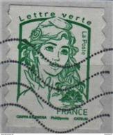 FRANCE-TIMBRE ADHESIF / AUTOCOLLANT OBLITERE-ANNEE 2016-N° YVERT 1215 OU AA1215-LETTRE VERTE SANS MENTION 20G - France
