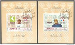 Ajman 1969 Mi# 448-453 Blocks Used - 6 Souvenir Sheets - Summer Olympics, Mexico / Gold Medallists - Summer 1968: Mexico City