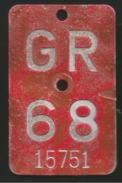 Velonummer Graubünden GR 68 - Plaques D'immatriculation
