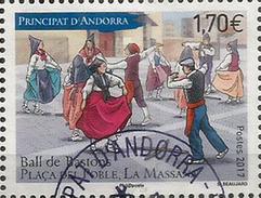 ANDORRA. La Danse Des Bâtons,  1 Timbre 2017 Oblitéré, 1 ère Qualité, Haute Faciale - French Andorra