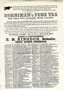 HORNIMANS PURE TEA / E.M.KINGDON, BOOKSELLER, SHERBORNE, DORSET - Advertising