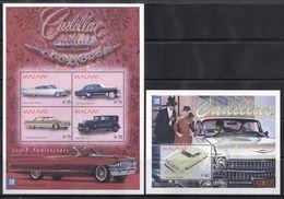 Malawi, 2004 (#763-67a), Cars, Autos, Automobili, Voitures, Carros, Transport, Trasporto, Transporte, Cadillac - SL4v+SS - Voitures