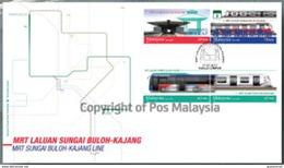 2017 MRT Sungai Buloh-Kajang Line Train Railway Locomotive Stamp Malaysia FDC - Malaysia (1964-...)