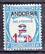 Andorre Taxe 13 1/4 De Cote  Neuf Avec Trace De Charnière* TB MH Con Charmela Cote 92 - Neufs