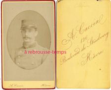 CDV Soldat Du 129e Rgiment- Photo A. Caccia Boulevard De Strasbourg Au Havre - Guerre, Militaire