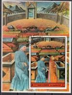 Bf. Umm Al Qiwain 1972 Dante Alighieri Virgilio Divina Commedia Inferno Miniatura Illustrazione Fg. 9 - Scrittori