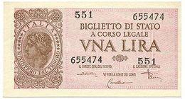 1 LIRA BIGLIETTO DI STATO LUOGOTENENZA UMBERTO 23/11/1944 DI CRISTINA FDS - [ 1] …-1946 : Royaume