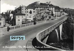 Marche-ancona-sassoferrato Via Mercatale Ponte Sul Sentino Veduta Gente Case Benzinaio Api Pubblicita Lanerossi Singer - Italia