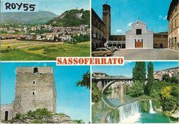 Marche-ancona-sassoferrato Vedute Panorama Chiesa Torre Ponte Fiume Anni 70 - Italia
