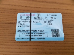 "Ticket De Transport (train) ""Changzhou - Shanghai"" Chine - Chemins De Fer"