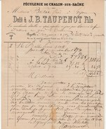 Saône Et Loire - Chalon Sur Saône - J.B.Taupenot Fils - Féculerie De Chalon - Fécule, Amidon,alimentation 1869 - 1800 – 1899