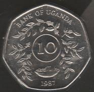 UGANDA 10 SHILLINGS 1987 KM# 29 Heptagonale COIN - Uganda