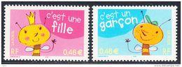 Timbres Neufs FRANCE - 2002 - C´est Une Fille , C´est Un Garçon - Yvert 3463/3464 - France