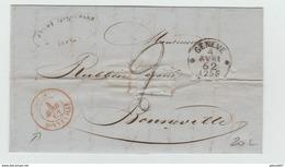 """1862 - LETTRE De GENEVE Pour BONNEVILLE Avec CACHET D'ENTREE ROUGE """"SUISSE / BONNEVILLE"""" - Marcophilie (Lettres)"""