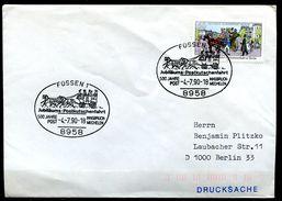 """Germany 1990 Sonderbeleg 500 J.Post Mit Berlin Mi.Nr.861 Und SSt""""Füssen-JUBI-Postkutschenfahrt, """"1 Beleg - Post"""