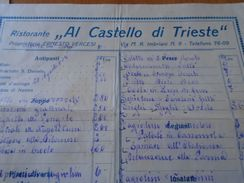 AD012.08 MENU  Ristorante Al Castello Di TRIESTE - Prop.Ernesto Vercesi - Via M.R. IMBRANI Nr.9. - Ca 1930 - Menus