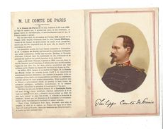 CHROMOLITHOGRAPHIE  Philippe , Comte De Paris  Dépliant  2 Volets ( Thème Royalisme ) - Non Classés