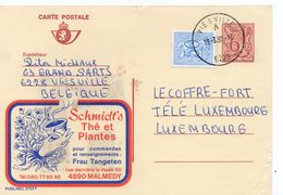 """1980 - Belgique - Publibel N°2722 Pub """"Thé Et Plantes Schmidt's"""" Tp 6fr + Complément D'affranchissement 50 Ct - Stamped Stationery"""