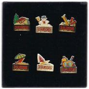 Série De 6 Pin's  3 SUISSES  EN COFFRET - Trademarks