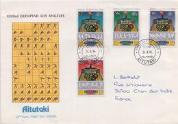 AITUTAKI :1981: Y.400-03 On FDC : OLYMPICS,LOS ANGELES 1984, JAVELIN THROWING,SHOT PUTTINF,HURDLES,BASKETBALL, - Estate 1984: Los Angeles