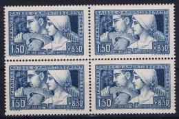 France Yv 252 Etat I Postfrisch/neuf Sans Charniere /MNH/** Caisse D'Amortissement Centré Bien Block De 4 - France
