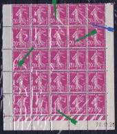 France : Yv  190 190 F Block De 25, 6 Exemplaires Sans Le C De 20 C  Rare Et Superbe Avec Coin Date - 1922-26 Pasteur