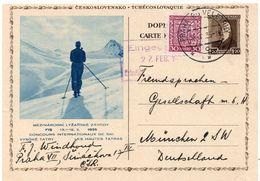 1935 - Tchécoslovaquie - Concours Internationaux De Ski - Les Hautes Tatras - Complément D'affranchis. Pour L'Allemagne - Entiers Postaux