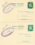 427/25 - 2 Entiers Postaux Lion V LOKEREN 1945/46 - Cachet Filature Stanislas Cock à LOKEREN - Postcards [1934-51]