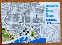 SPORT  CAMPIONATI EUROPEI DI NUOTO A BARCELLONA 1970 CARTOLINA UFFICIALE  VIAGGIATA - Atletica