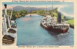 """Panama - El Vapor """"Mercury Sun"""" En El Corte De Gaillard, Canal De Panama - Panama"""