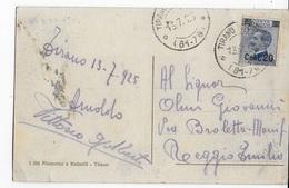 STORIA POSTALE REGNO - ANNULLO FRAZIONARIO - TIRANO STAZIONE (SO) 61-76 SU CARTOLINA MICHETTI SOVRASTAMPATO 13.07.1925 - 1900-44 Vittorio Emanuele III