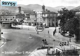 Marche-ancona-fabriano Piazza G.matteotti Veduta Piazza Benzinaio Esso Negozi Case Bella Animata - Italia