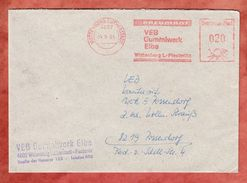 Brief, Absenderfreistempel, VEB Gummiwerk Elbe, 20 Pfg, Wittenberg Lutherstadt 1985 (39616) - Marcofilia - EMA ( Maquina De Huellas A Franquear)