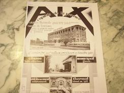 ANCIENNE PUBLICITE AIX LA CAPITALE DE LA PROVENCE 1929 - Publicité