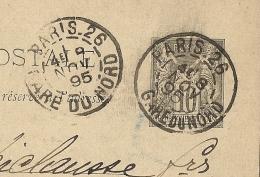 COURONNES DIFFERENTES, DAGUIN PARIS . 26 GARE DU NORD  Sur ENTIER SAGE. - 1877-1920: Semi Modern Period