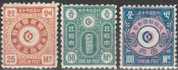 KOREA..1884..Michel # 3-5...MH...MiCV - 65 Euro. - Korea (...-1945)